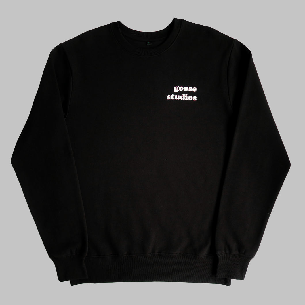 Front of Black organic cotton sweatshirt with white printed logo