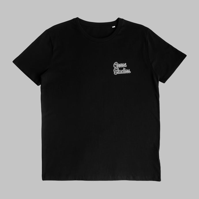 Front of Black organic cotton T Shirt with white printed logo