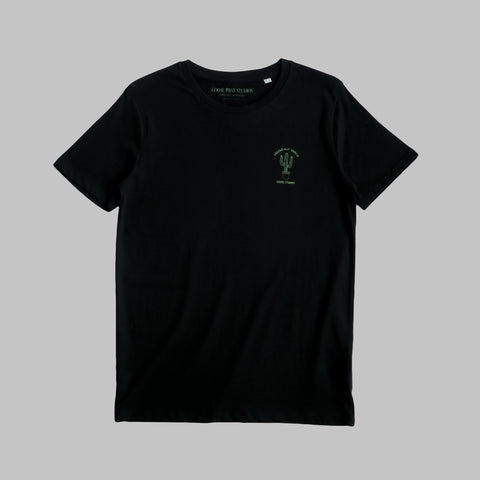 LIMITED EDITION - Short Sleeved Organic Cotton T Shirt with Cactus Logo - Black