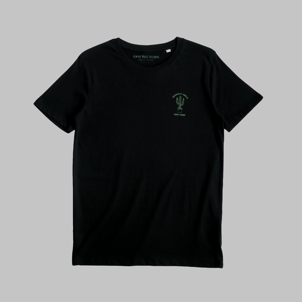 Front of unisex black organic cotton T Shirt with green cactus logo