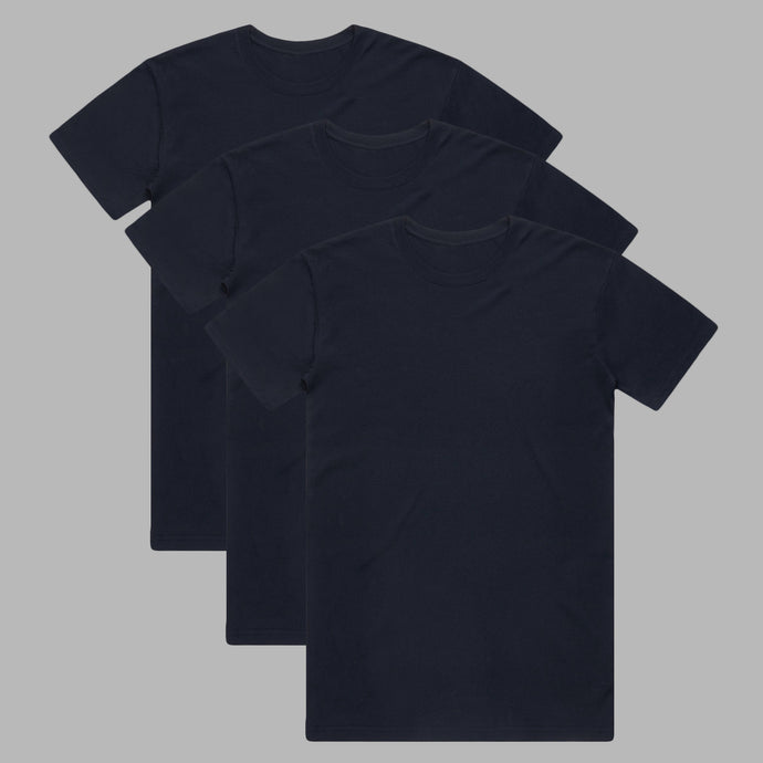 Front of Dark Navy premium organic cotton T Shirts in a 3 pack