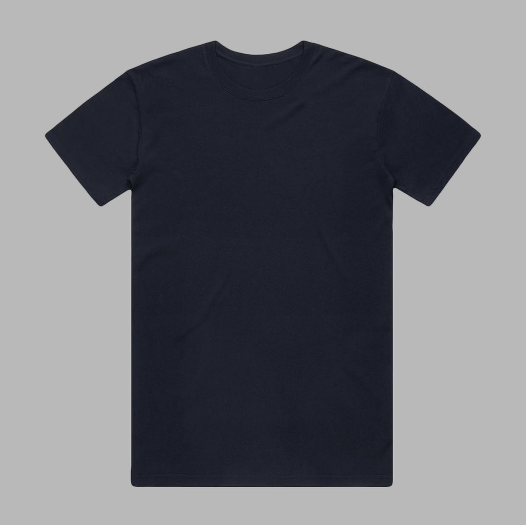 Front of Dark Navy premium organic cotton T Shirt