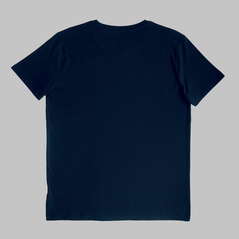 Short Sleeve Organic Cotton T Shirt with Printed White Logo - Navy