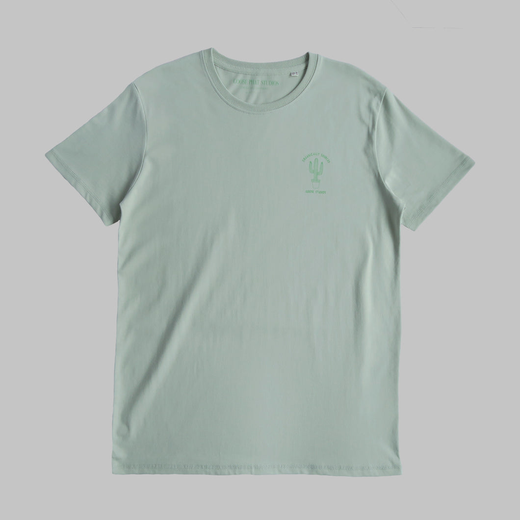 Front of unisex green organic cotton T Shirt with green cactus logo