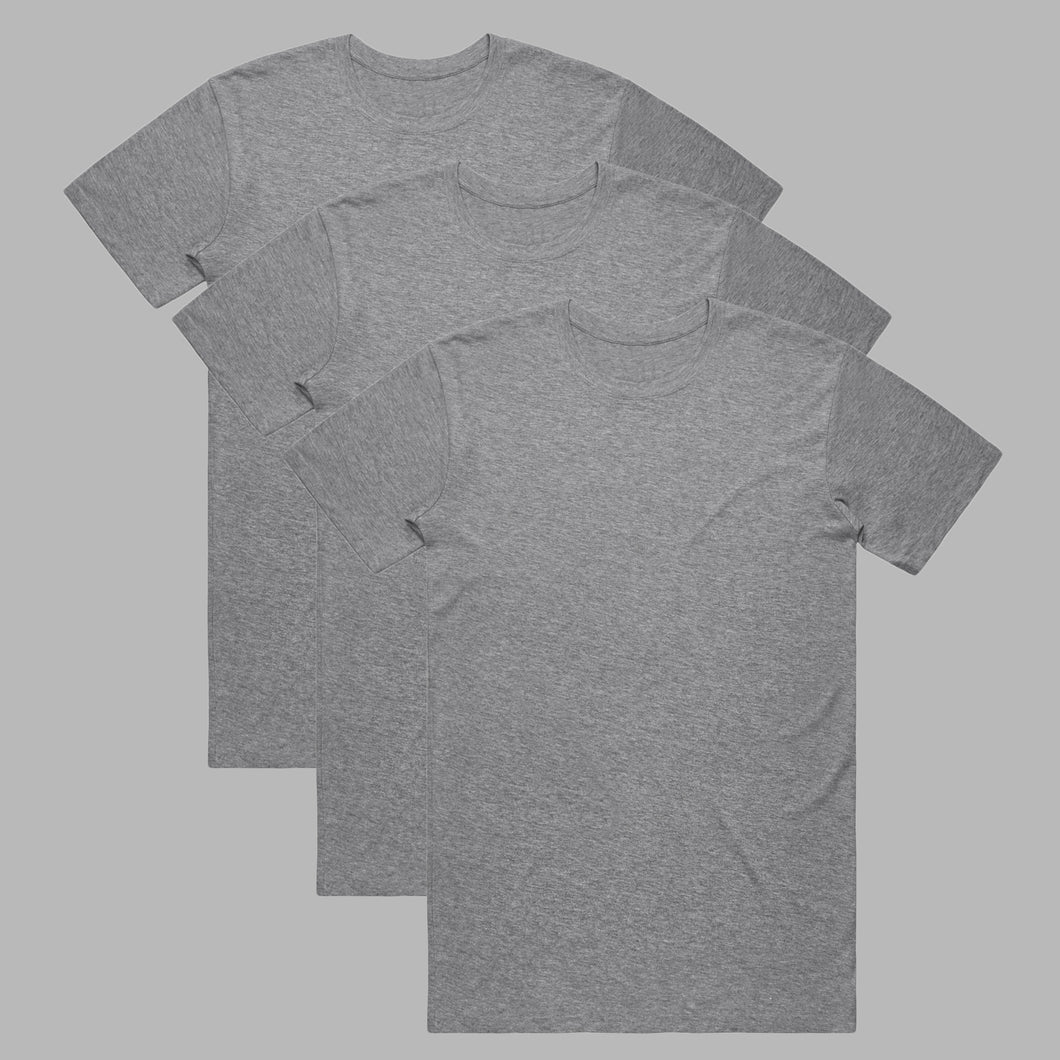 Front of Marl Grey premium organic cotton T Shirts in a 3 pack
