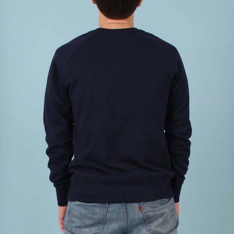 Long Sleeved Organic Cotton Printed Sweatshirt - Navy with Red Logo