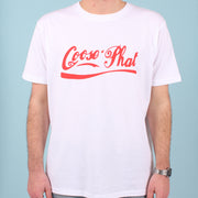 Front view of a man wearing a white organic cotton T Shirt with red printed logo