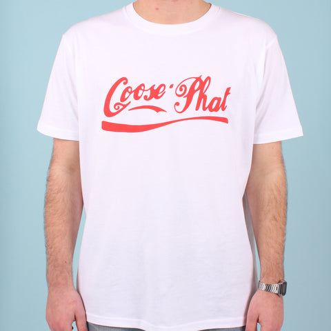 LIMITED EDITION RE-RUN - Short Sleeved Organic Cotton T Shirt with Red logo - White
