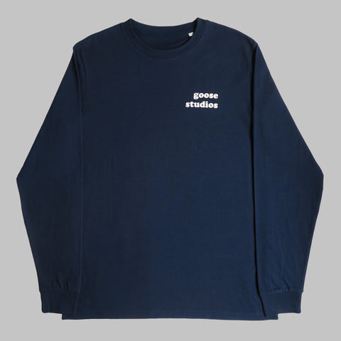 Front of Navy blue organic cotton long sleeve T Shirt with white printed logo
