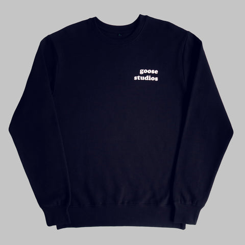 LIMITED EDITION - Organic Cotton Sweatshirt with White Printed Logos - Navy
