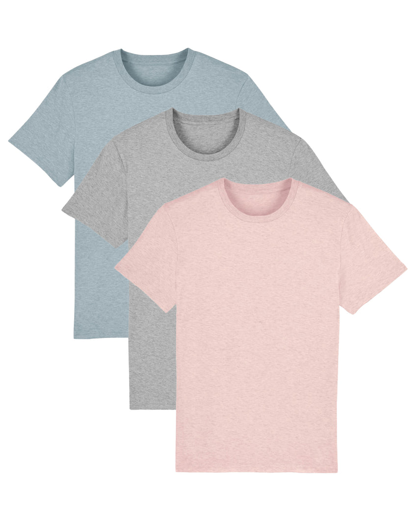 Men's Attenborough Organic T-Shirts - Marl 3 Pack