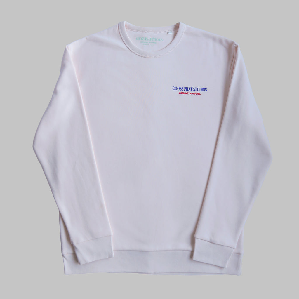 LIMITED EDITION - Long Sleeved Organic Cotton Embroidered Sweatshirt - Pink