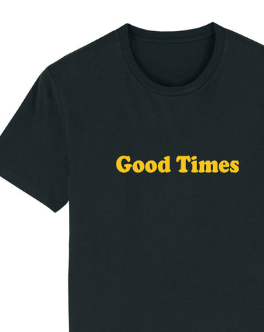 Good Times - Men's Organic Cotton Print Tee - Black