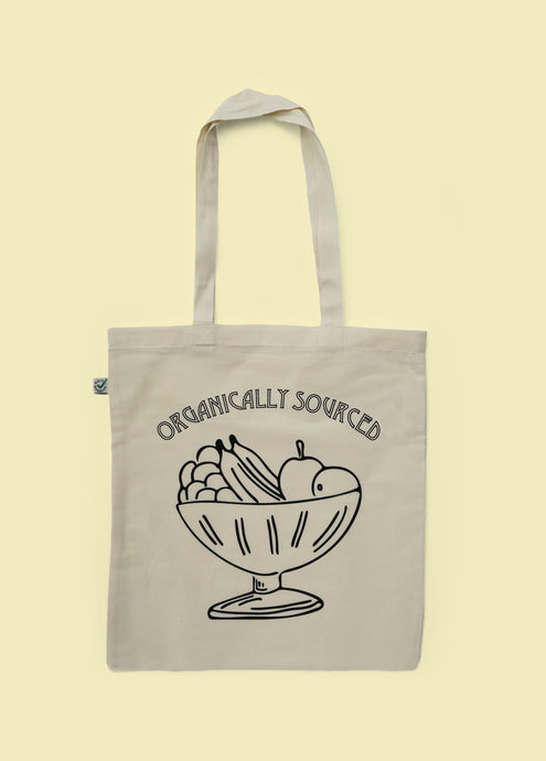 Front of printed organic cotton tote bag with black logo