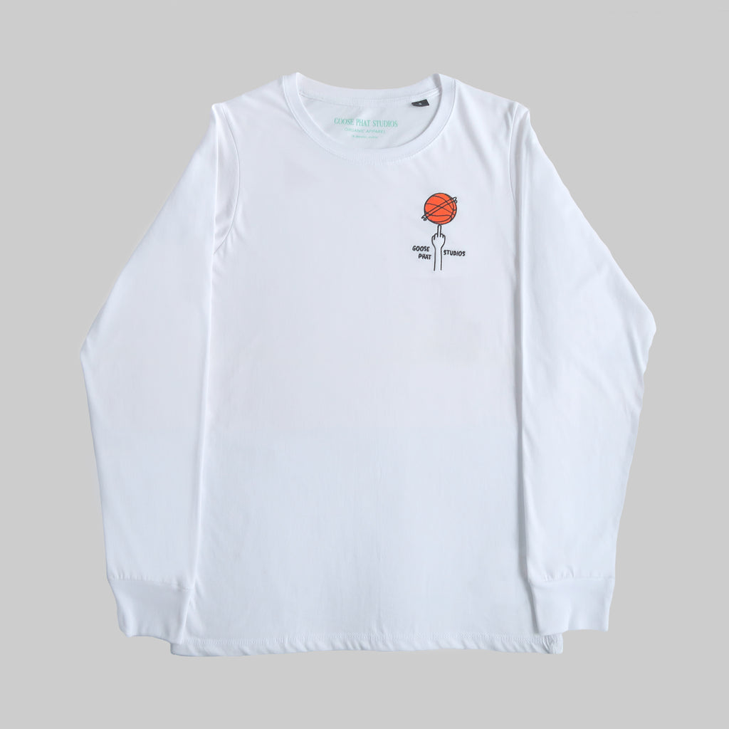 Long Sleeved Organic Cotton T Shirt with Embroidered Logo - White