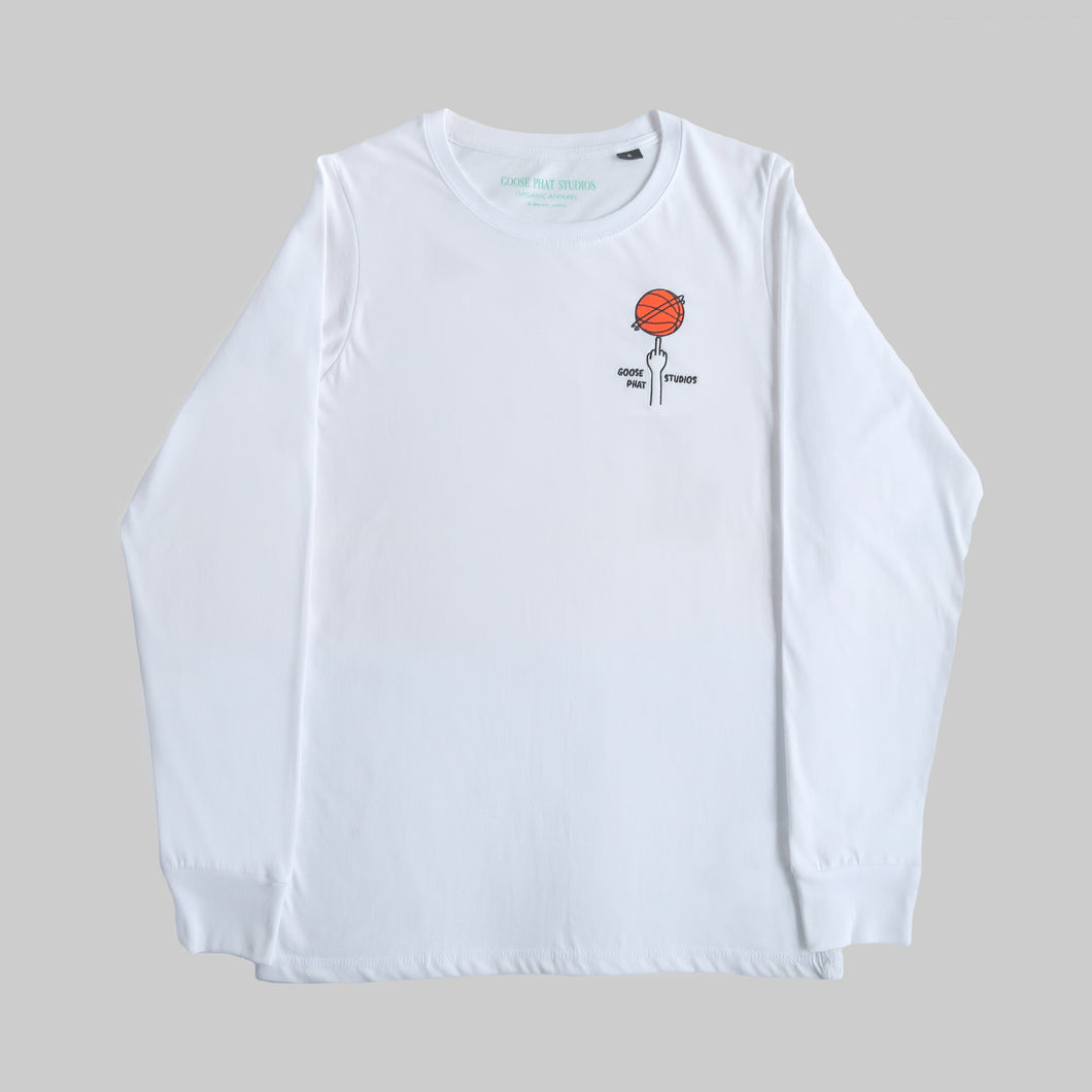 Front of white organic cotton long sleeve T Shirt with embroidered orange basketball logo