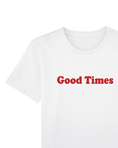 Good Times - Women's Organic Cotton Workwear Print Tee - White