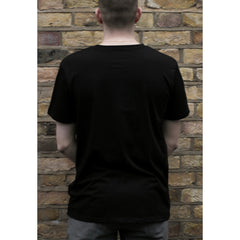 Back of man wearing black organic cotton short sleeve t-shirt