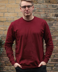 Long Sleeve Organic Cotton T Shirt - Burgundy