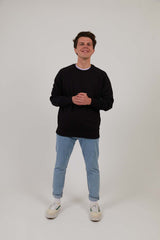 Men's Organic Cotton Raglan Sleeve Sweatshirt - Black