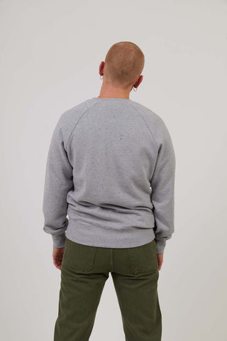 Men's Organic Cotton Raglan Sleeve Sweatshirt - Grey Marl