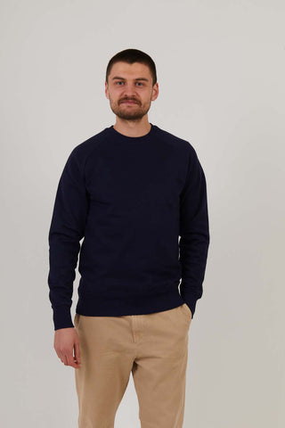 Men's Organic Cotton Raglan Sleeve Sweatshirt - Navy
