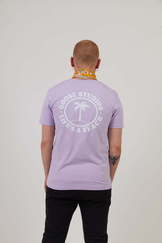 Oval Beach - Mens Print Tee - Lilac