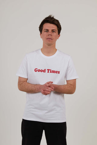 Good Times - Mens Print Tee - White - MEDIUM ONLY