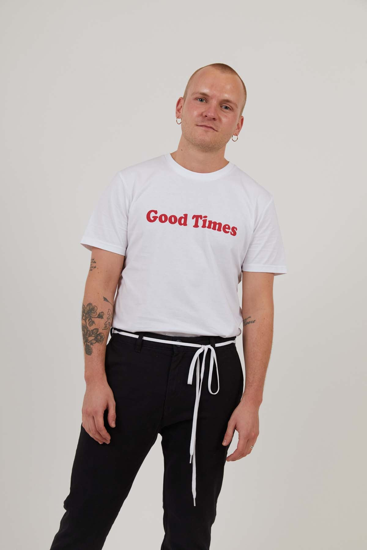 Good Times - Men's Organic Cotton Print Tee - White - MEDIUM ONLY