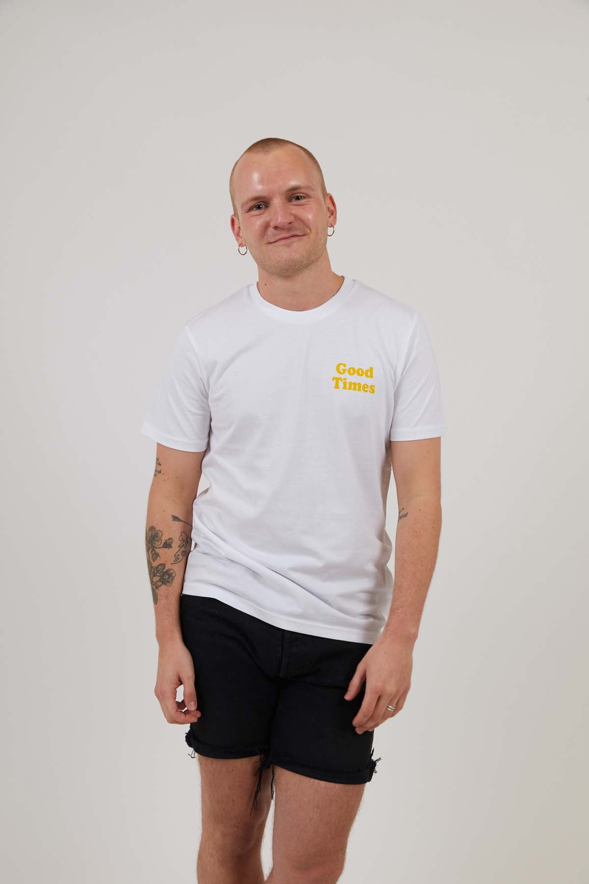 Good Times Logo - Mens Print Tee - White/Yellow