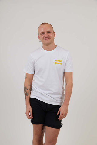 Good Times Logo - Mens Organic Cotton Print Tee - White/Yellow