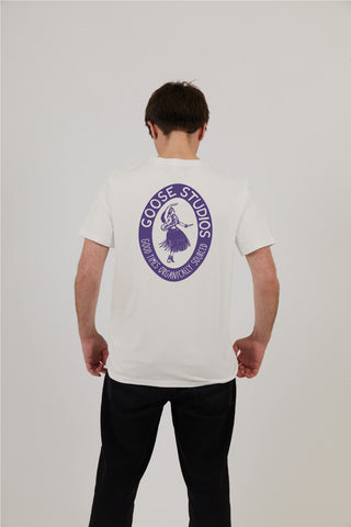 Men's Vintage White Organic Cotton T-Shirt - Hula Print
