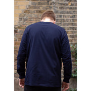 Back of a man wearing navy blue organic cotton long sleeve t-shirt