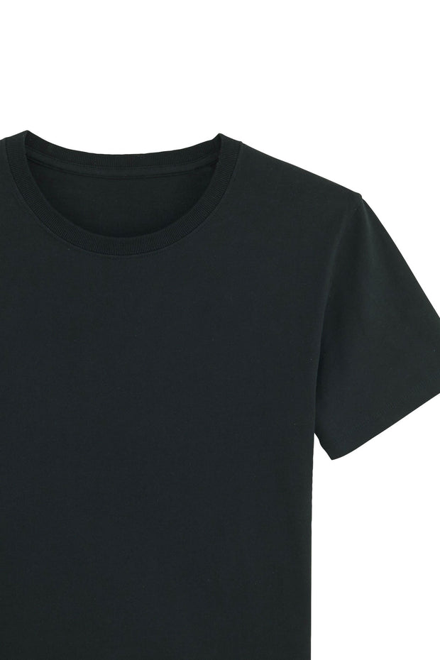 Close up flat lay of a black workwear organic cotton sustainable t shirt