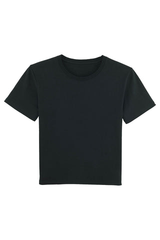 Flat lay of a black workwear organic cotton sustainable t shirt