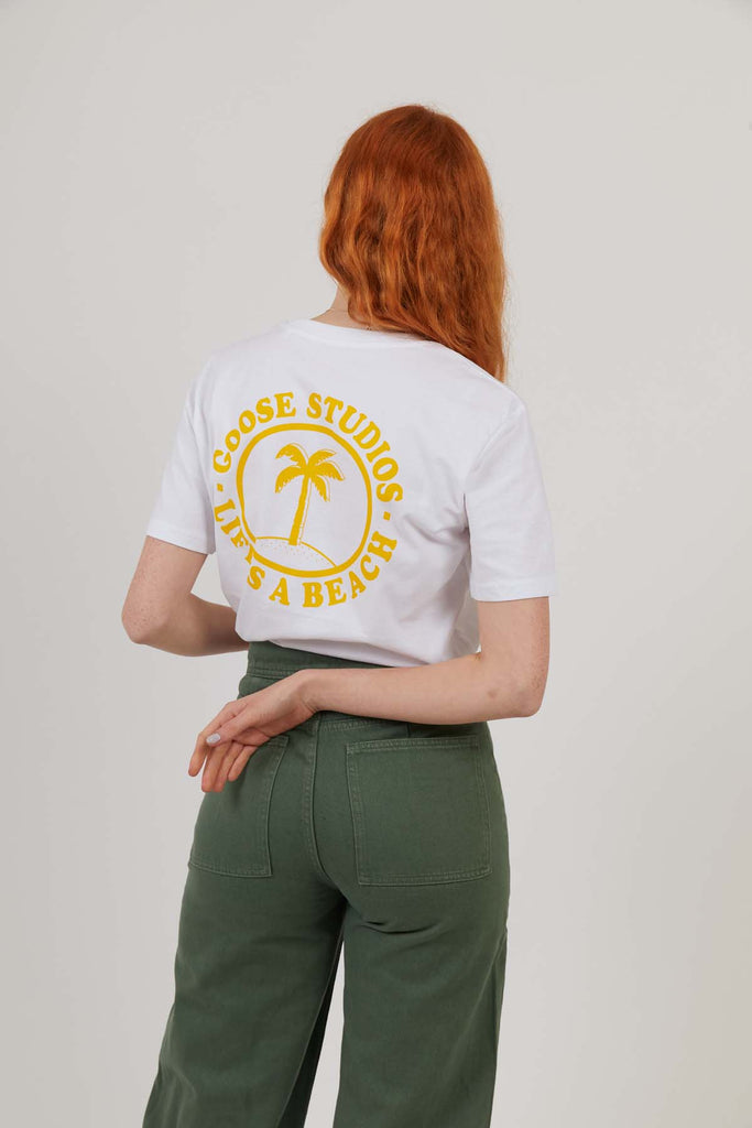 Oval Beach - Print Tee - White/Yellow