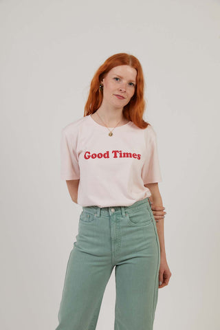 Good Times - Workwear Print Tee - Pink - LARGE ONLY