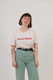Good Times - Workwear Print Tee - Pink