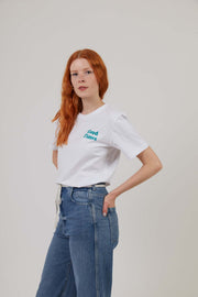 Oval Beach - Workwear Print Tee - White/Turquoise