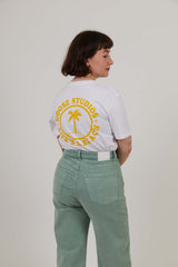 Oval Beach - Workwear Print Tee - White/Yellow