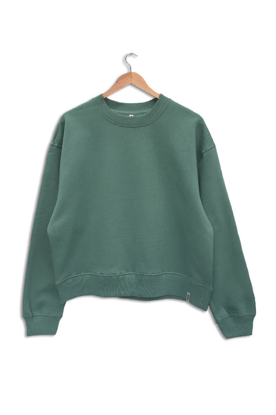 Front of women's organic cotton sweatshirt in pastel green