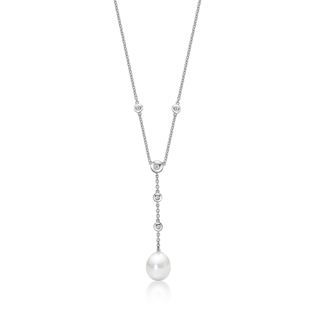 Sterling Silver CZ and Pearl Necklace