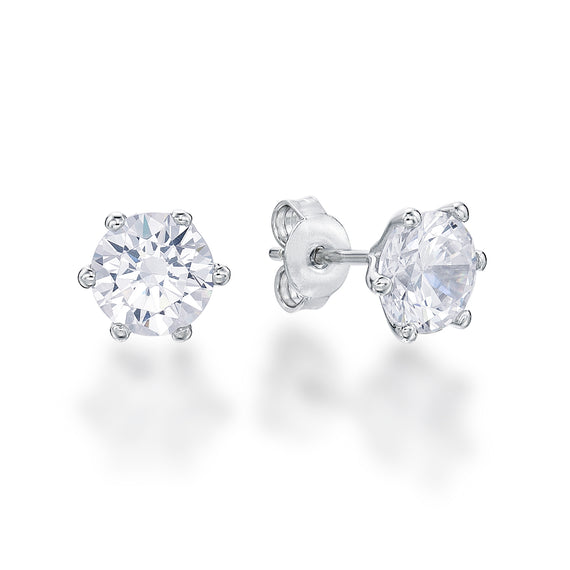 Sterling Silver 6 Claw Round CZ Stud Earrings