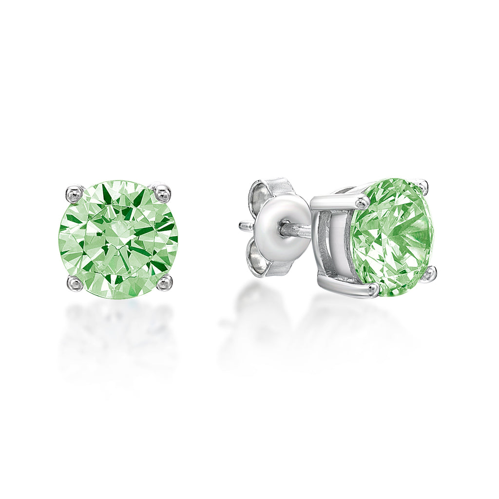 Sterling Silver 4 Claw CZ Birthstone Stud Earrings - August