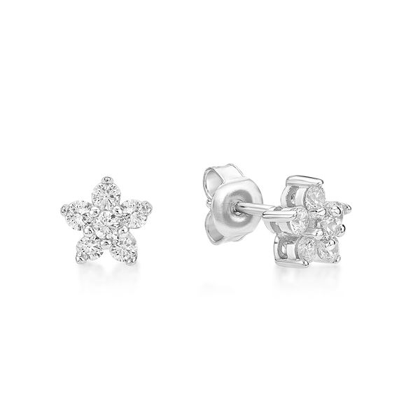 Sterling Silver CZ Flower Stud earrings