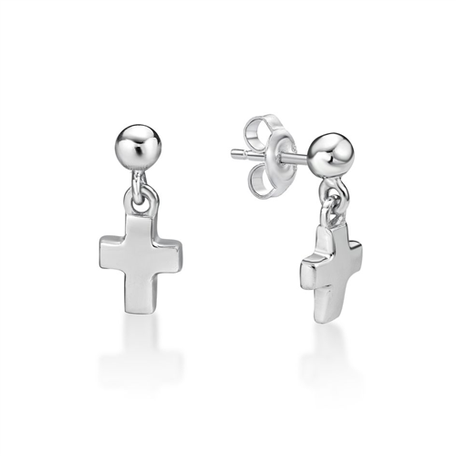 Sterling Silver Small Cross Ball Stud Earrings