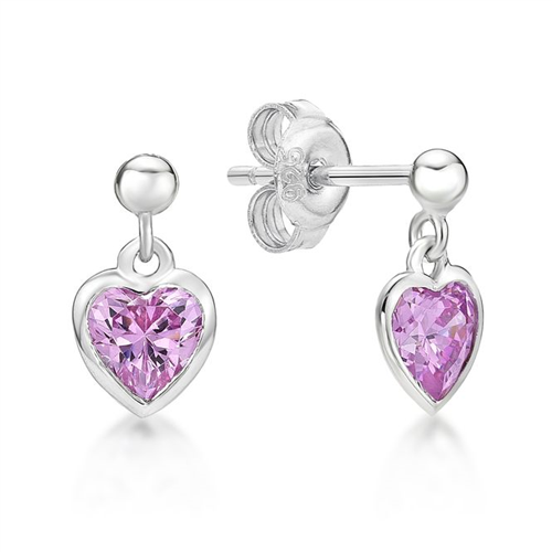 Sterling Silver Pink Heart CZ Drop Earrings