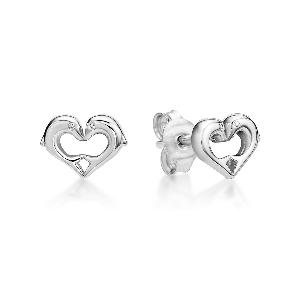Sterling Silver 2 Dolphin Heart Stud Earrings