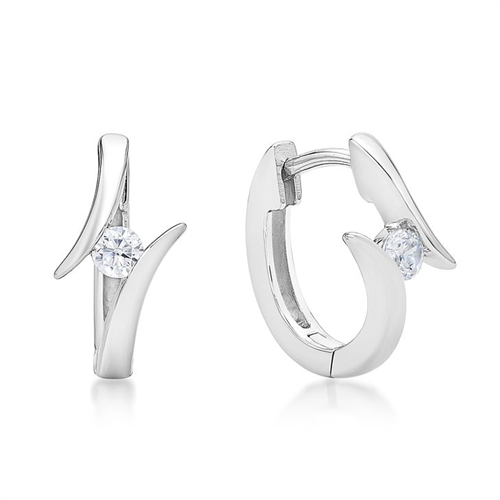 Sterling Silver Huggie Split White Cz Earrings