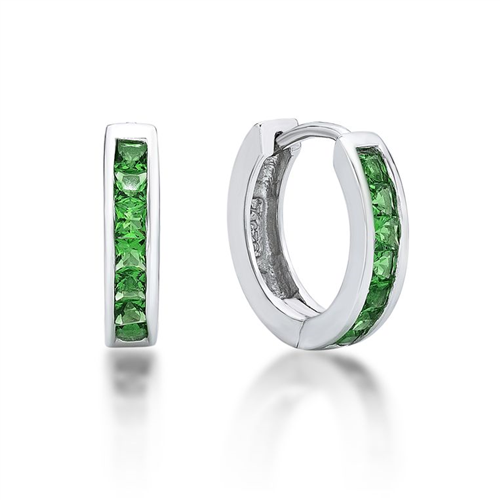 Sterling Silver Huggies with Green CZ